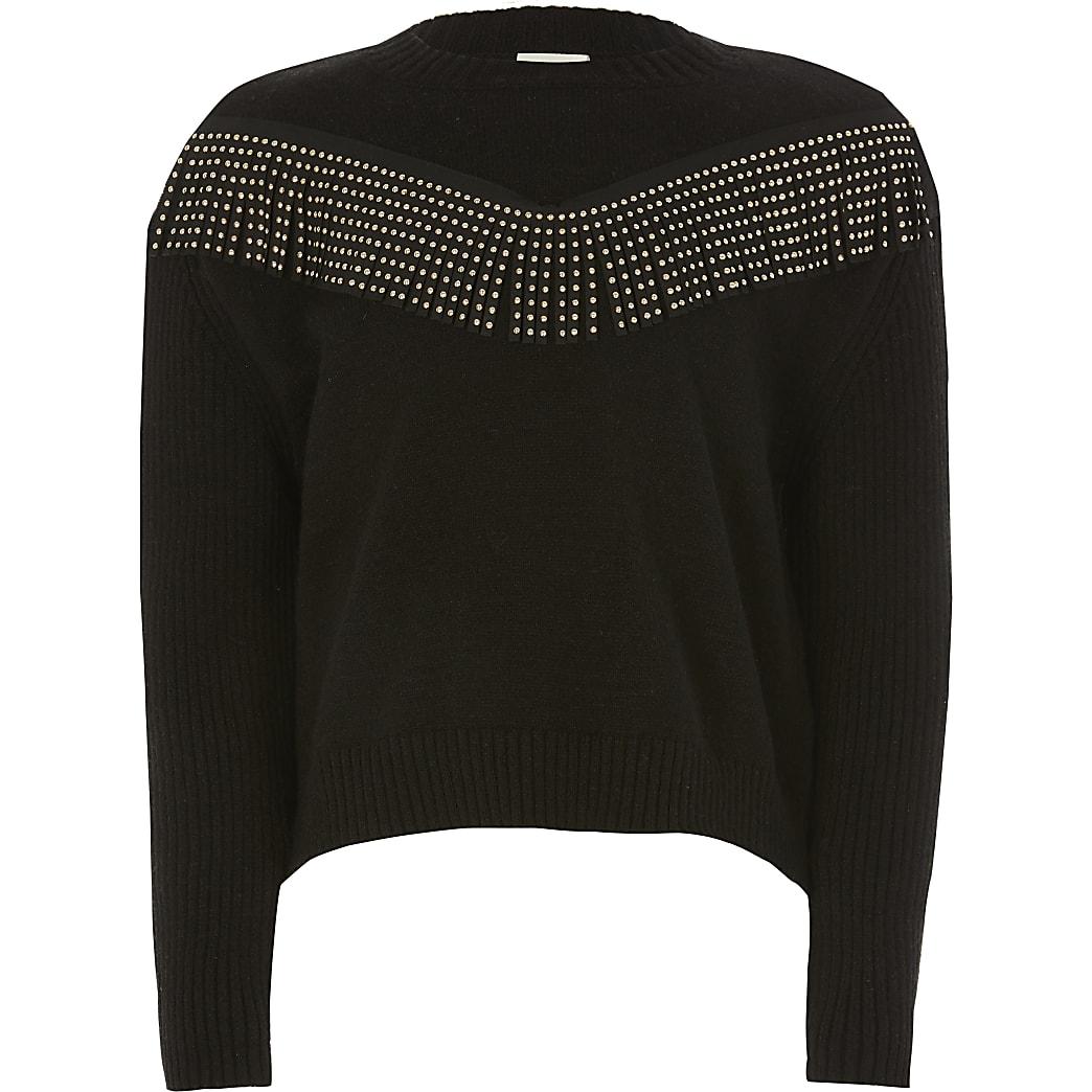 Girls black diamante tassel knitted jumper