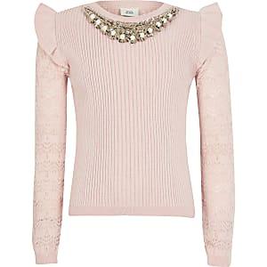 Pinker Mädchenpullover mit Verzierung am Hals