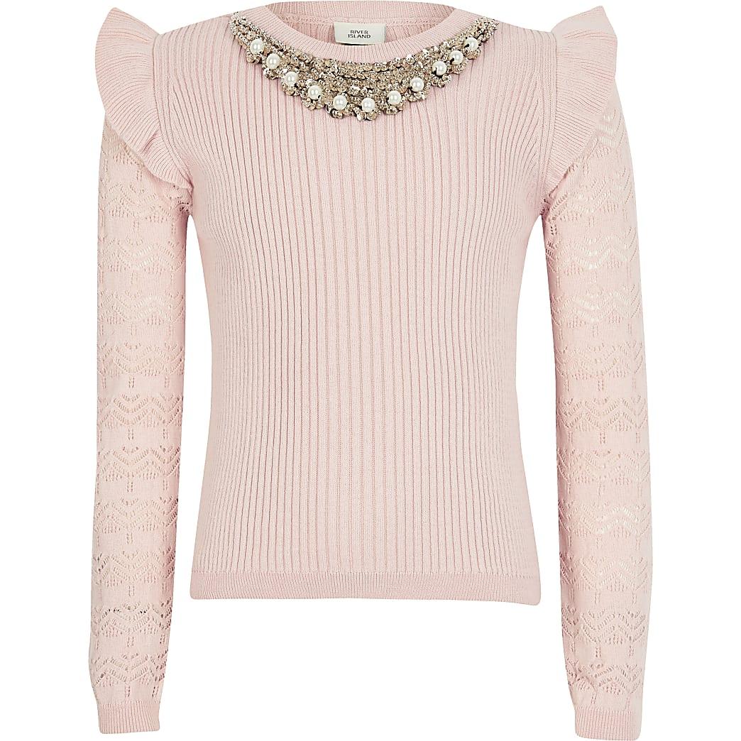 Girls pink embellished neck jumper
