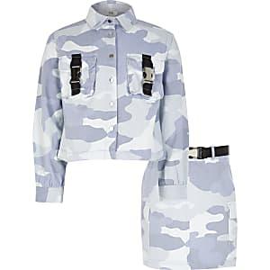 Blauwe outfit met shacket en rok met camouflage voor meisjes