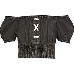 Schwarzes Bardot-Top aus Jeansstoff mit Schnürung für Mädchen