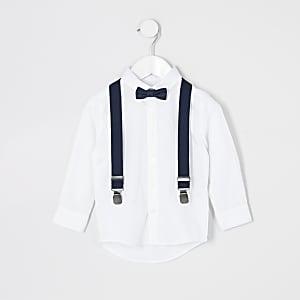Weißes Hemd- und Fliegen-Set-Outfit für kleine Jungen