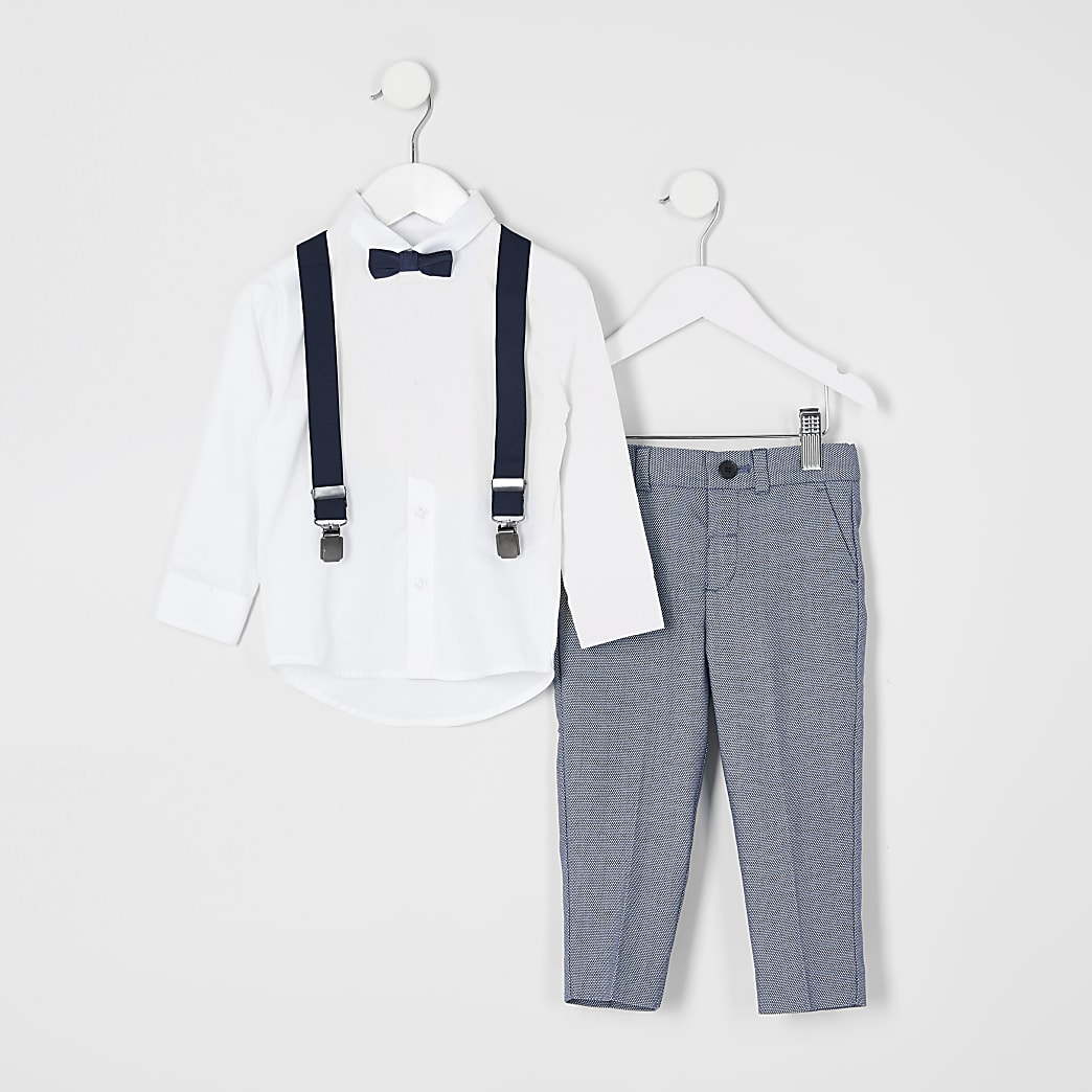 Mini boys blue pin dot suit outfit