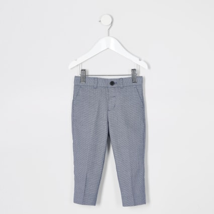 Mini boys blue texture pin dot suit trousers