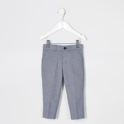 Mini boys blue texture pin dot suit trousers