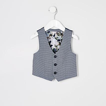 Mini boys blue pin dot suit waistcoat