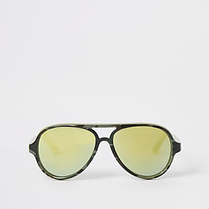 Mini boys khaki camo aviator sunglasses
