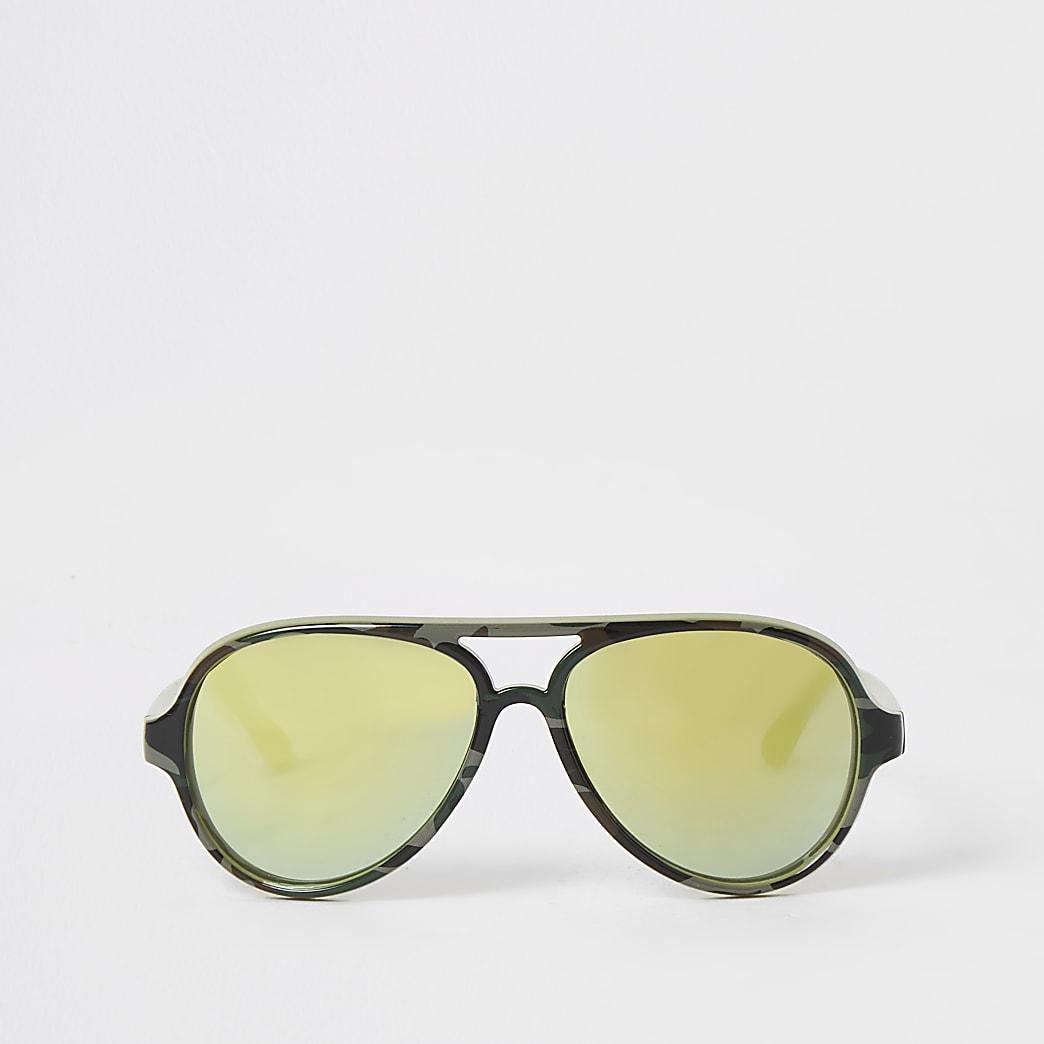 Mini boys khaki camo aviator sunglasses