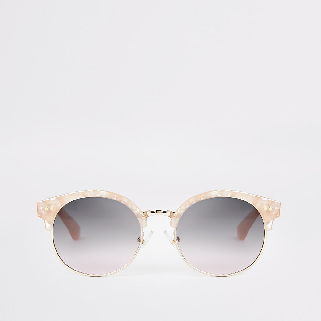 Girls pink quartz round sunglasses