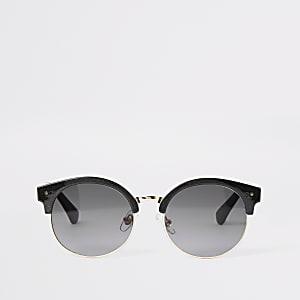 Zwarte ronde glitter zonnebril voor meisjes