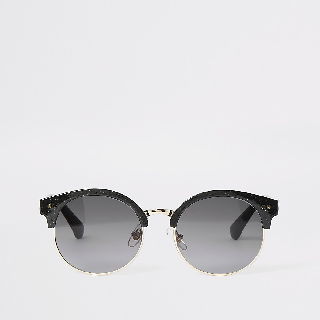 Girls black shimmer round sunglasses