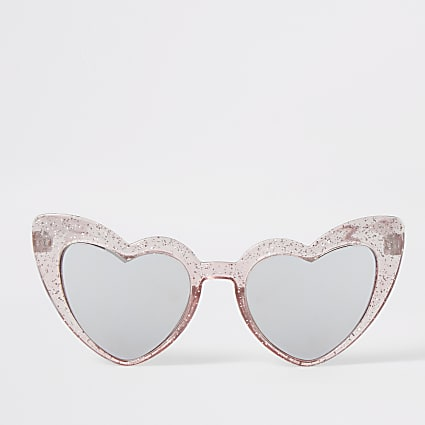 Mini girls pink heart shape sunglasses