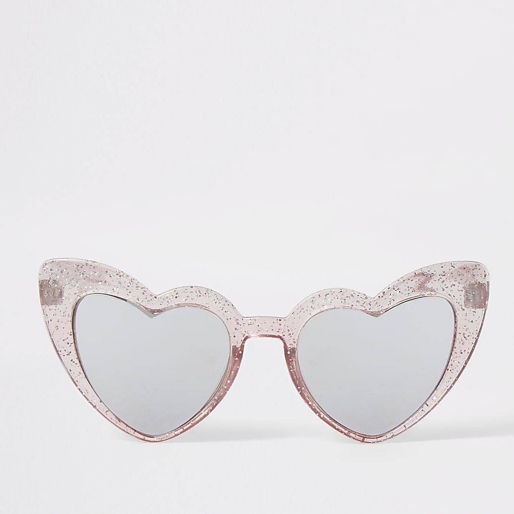 Mini girls pink heart shape sunglasses