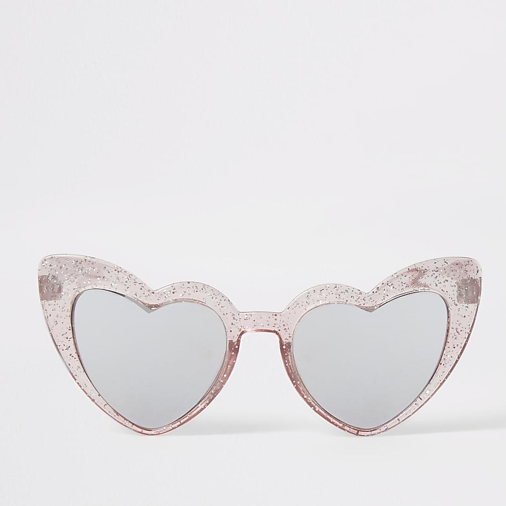 Mini - Roze zonnebril met hartvormig montuur voor meisjes
