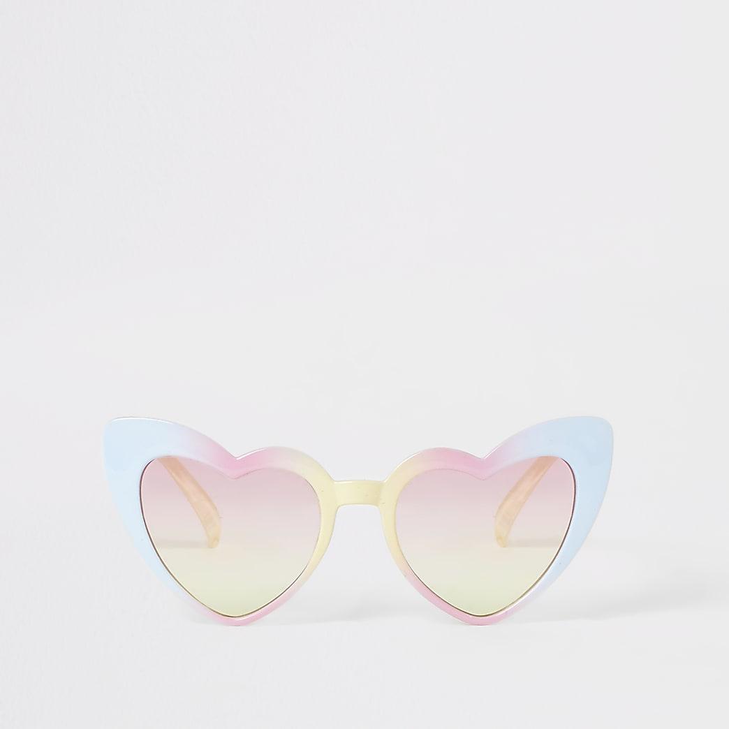 Mini girls pink heart shaped sunglasses