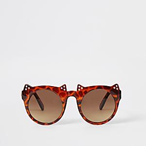 Mini – Braune Schildplatt-Sonnenbrille in Katzen-Look für Mädchen