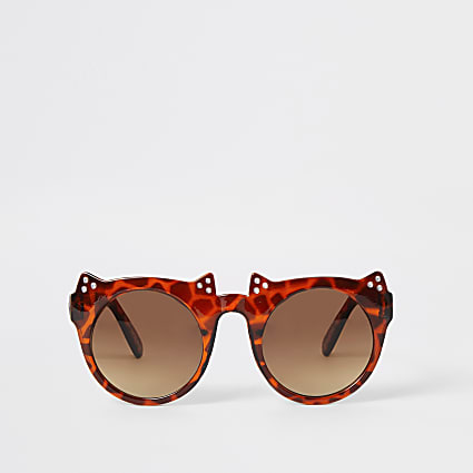 Mini girls brown tortoiseshell cat sunglasses