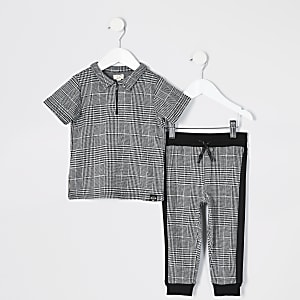 Mini boys grey check zip polo shirt outfit