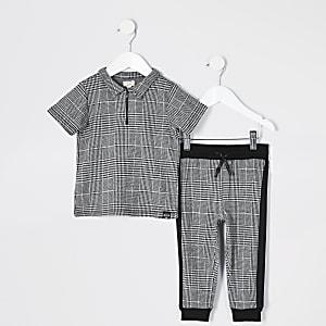 Mini - Grijsgeruit poloshirt outfit met rits voor jongens