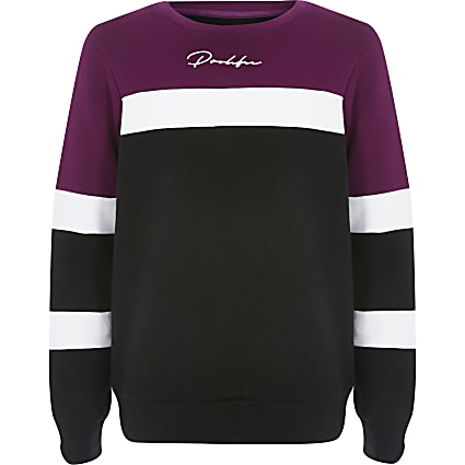 Boys purple colour block Prolific sweatshirt