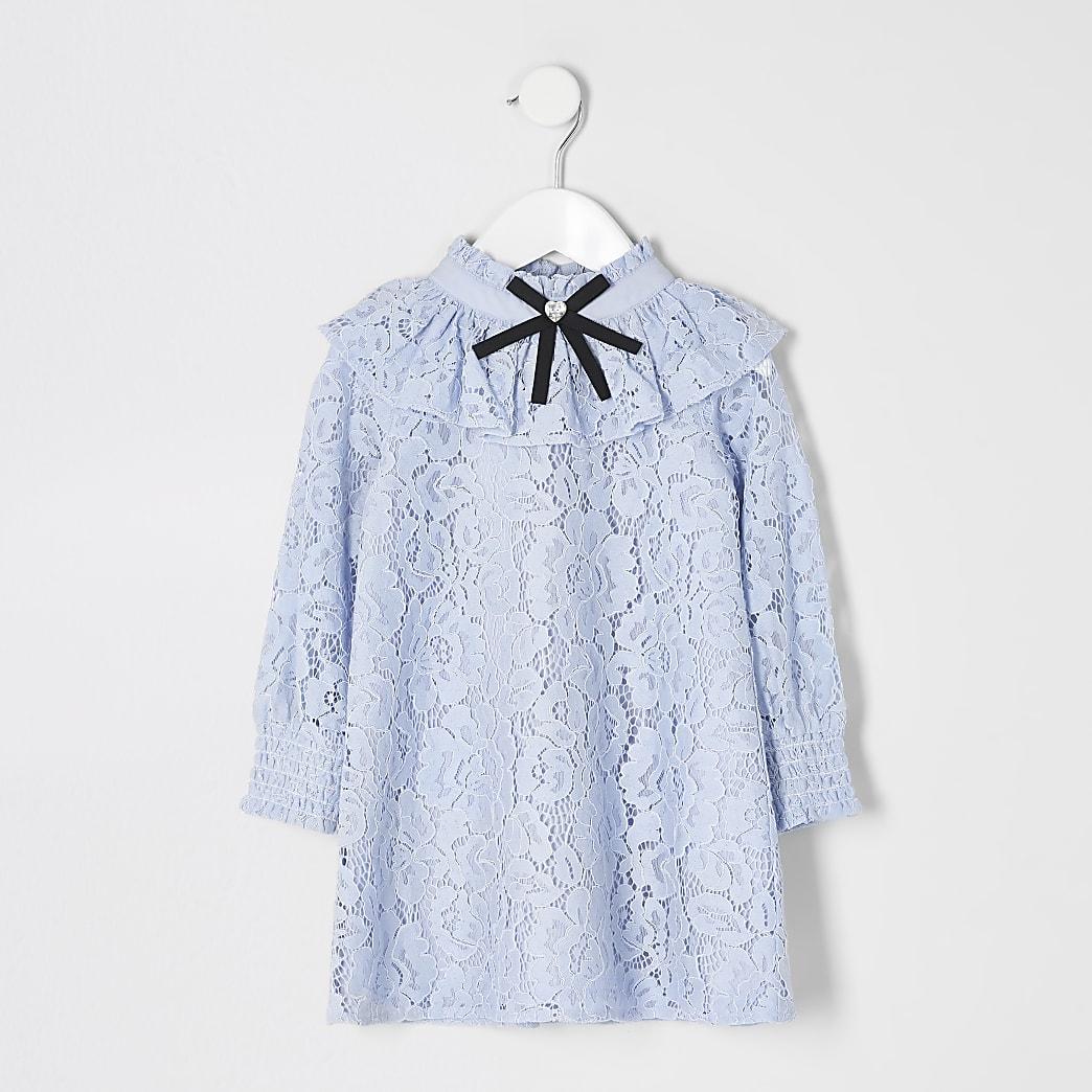 Mini girls blue lace bow collar frill dress