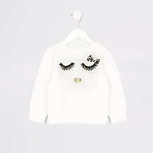 Weißes Sweatshirt mit Wimpernprint für kleine Mädchen