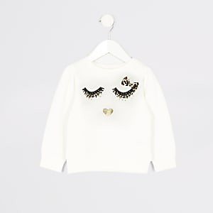 Mini fille - Sweat blanc imprimé cils