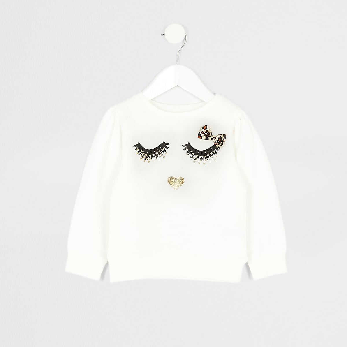 Mini girls white eyelash printed sweatshirt