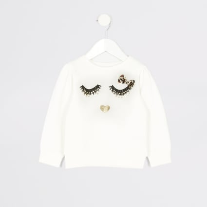 Mini girls white eyelash printed sweatshirt
