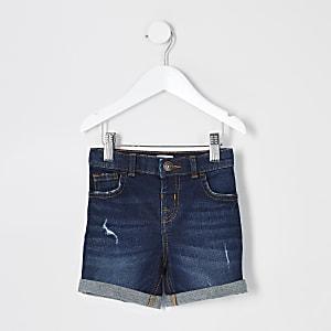Mini - Dylan - Donkerblauwe slim-fit short voor jongens