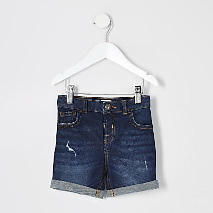 Mini boys dark blue Dylan slim fit shorts