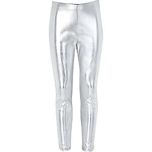 Leggings in Silber-Metallic
