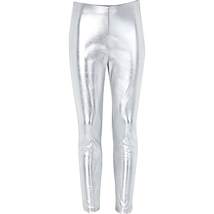 Girls silver metallic leggings