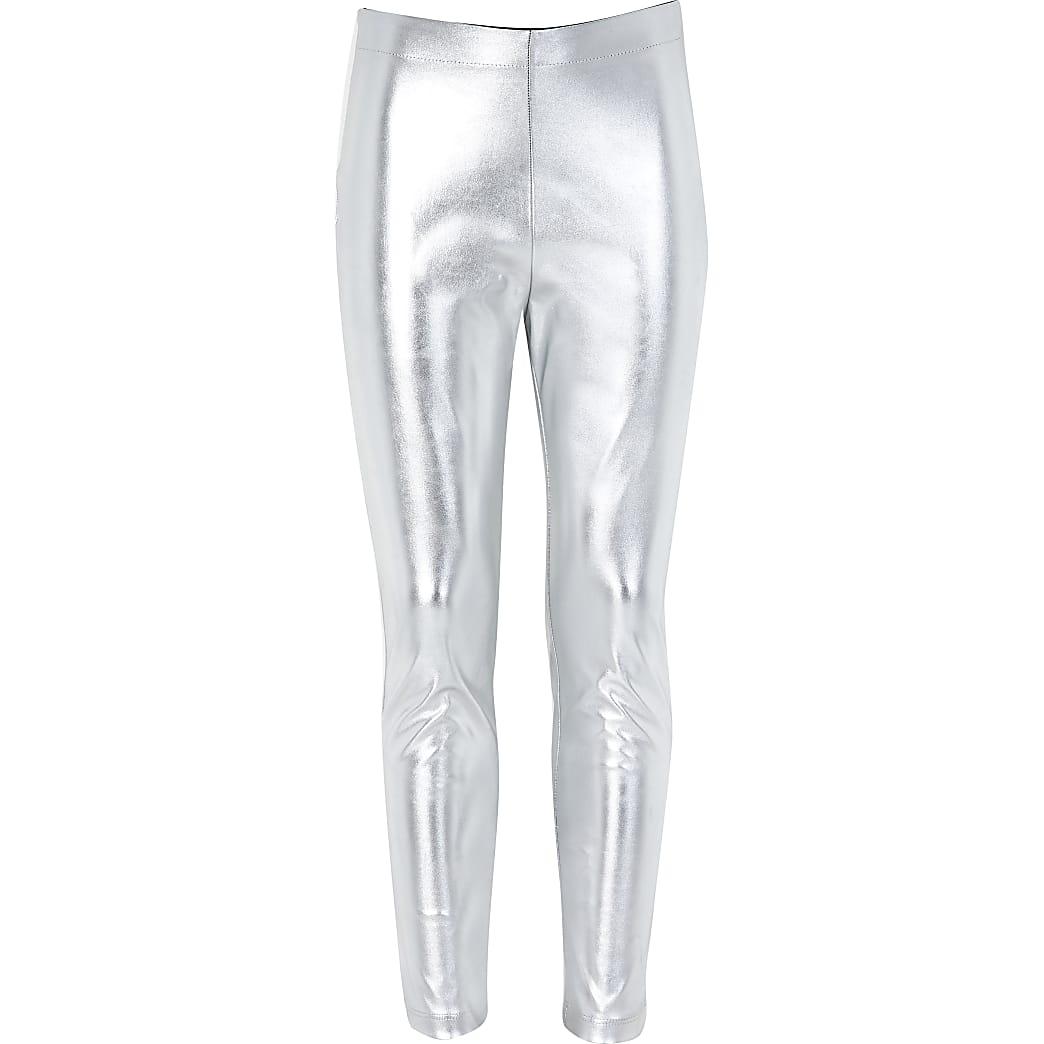 Girls silver metallic leggings