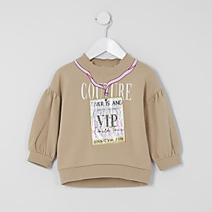 Sweat beige imprimé passe « VIP » Mini fille
