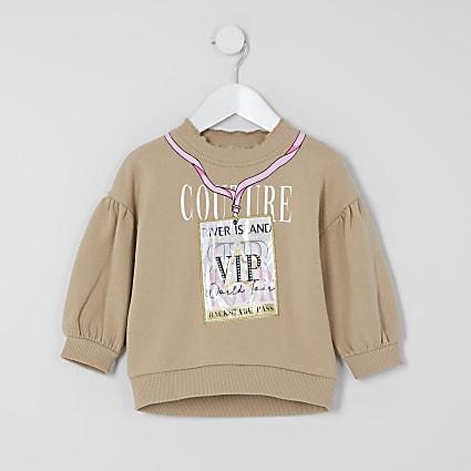 Mini girls beige 'VIP' pass sweatshirt