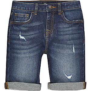 Dylan– Shorts slim déchirés bleu foncé pour garçon