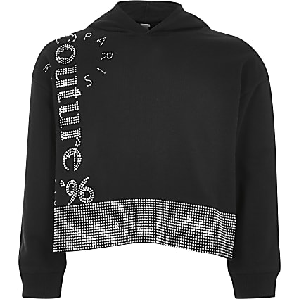 Girls black diamante embellished hoodie