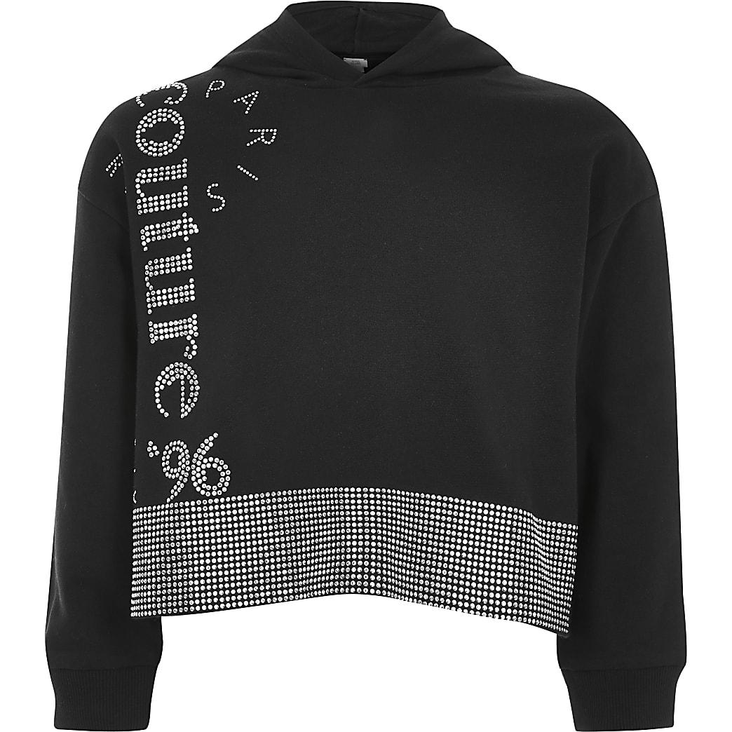 Girls black diamante embellished hoodie