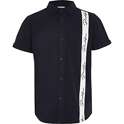 Boys navy Prolific tape polo