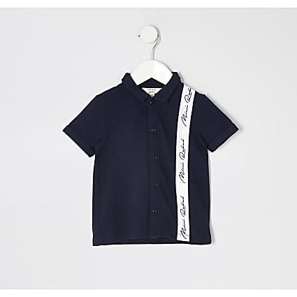 Mini boys navy taped pique polo shirt