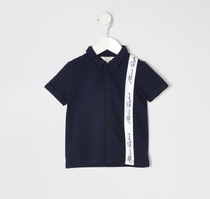 Mini boys navy taped pique polo shirt