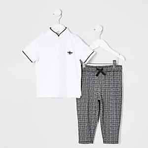 Weißes Poloshirt-Outift mit Grandad-Kragen für kleine Jungen