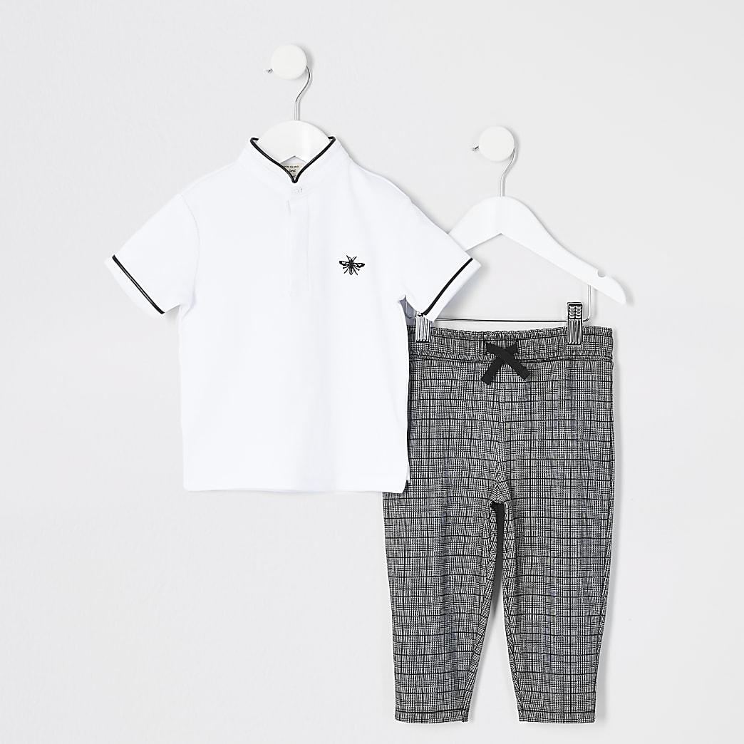 Mini boys white grandad collar polo outfit
