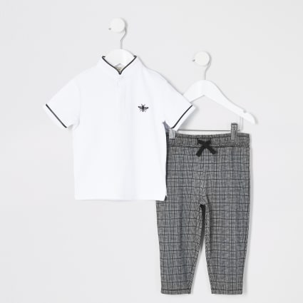 Mini boys white grandad collar polo outfit