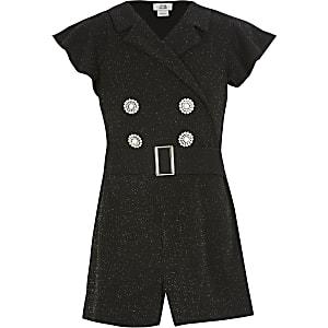Schwarzer Tux-Overall mit Glitzer für Mädchen