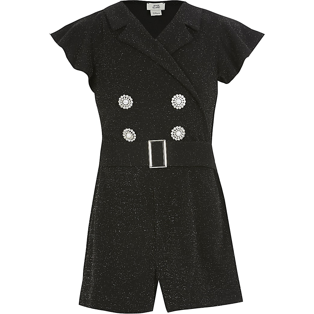 Girls black glitter tux playsuit