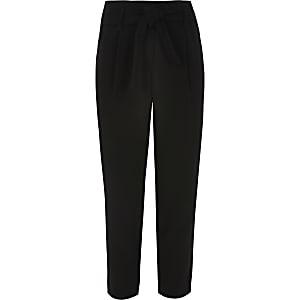 Zwarte broek met strik ceintuur voor meisjes