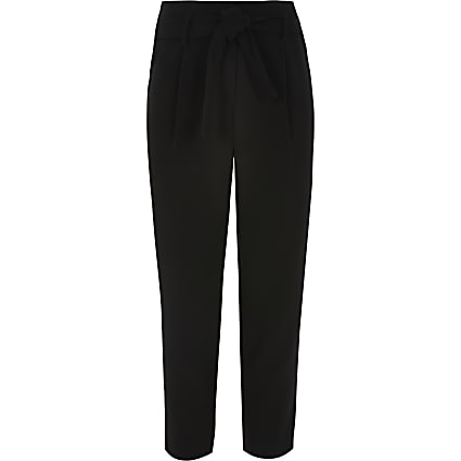 Girls black tie waisted trousers