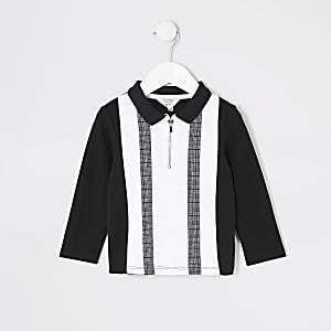 Schwarzes Poloshirt mit Colour-Block für kleine Jungen